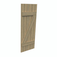 Fypon shutter___SH3PZC18X65RS___SHUTTER 3 BOARD AND Z-BATTEN18X65X1-1/2 ROUGH SAWN WOOD GRAI