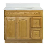 "Appalachian Oak Vanity - 36""W X 21"" D X 34.5"" H  - 2 Door 2 Drawer (Right)"