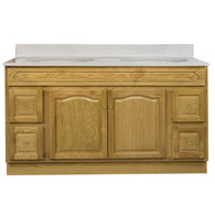 "Appalachian Oak Vanity - 60""W X 21"" D X 34.5"" H  - 2 Door 4 Drawer (2 Left 2 Right)"