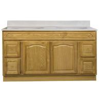"Appalachian Oak Vanity - 60""W X 21"" D X 34.5"" H  - 2 Door 4 Drawer (2 Left 2 Right)"