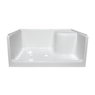 "34""x48""x19"" Fiberglass Shower Base Elite - With Seat On Right Side - White"