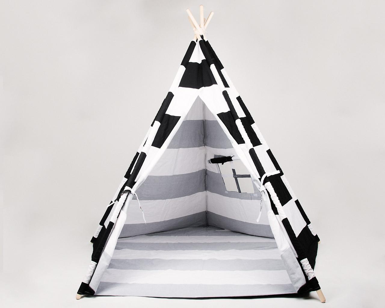 Stellavolta TP5P-BKS KIDS Teepee Large 5-Pole, Jet Black Stripes