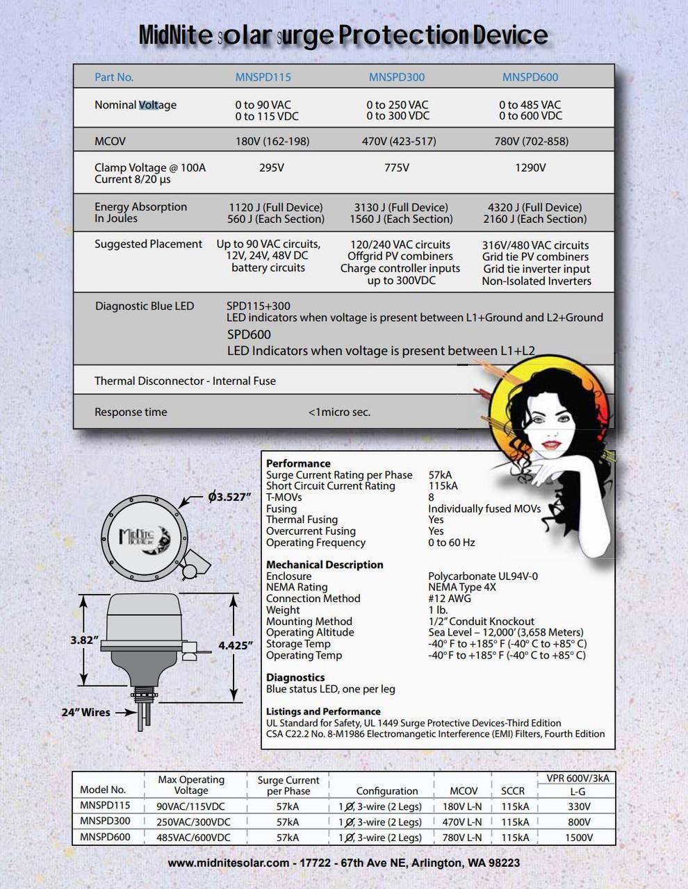 Surge Protection Device MidNite Solar MNSPD-300-DC Surge Arrestor