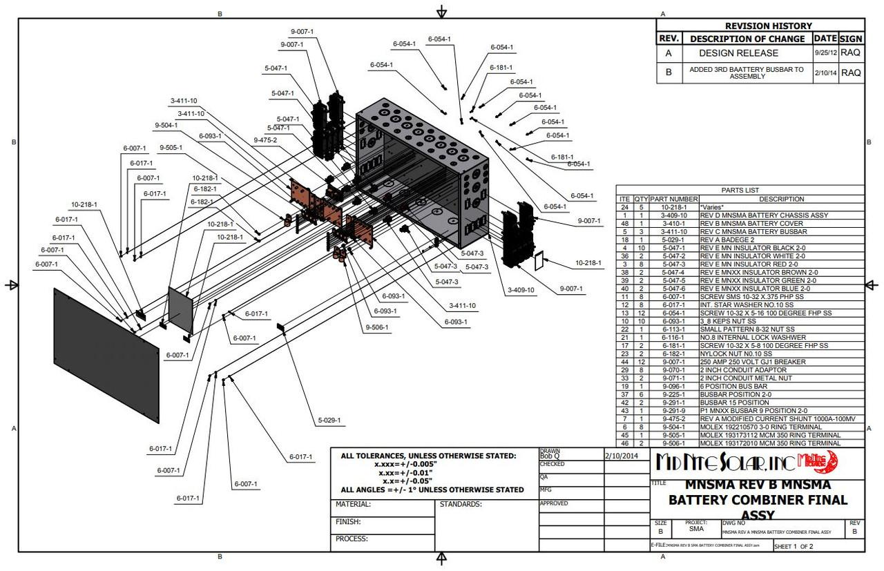 MidNite Solar MNBCB-BUSBAR Battery Combiner Busbar 1000A