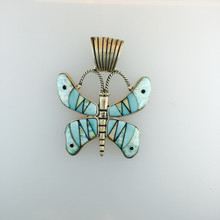 Sterling Silver With Turquoise And Opalite Inlay Butterfly Pendant