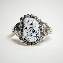 White Buffalo Stone Silver Cuff
