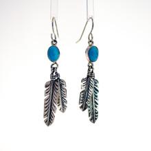 Sleeping Beauty Turquoise Feather Earrings