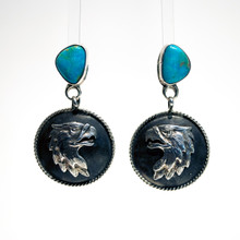 Kingman Turquoise Eagle Head Earrings