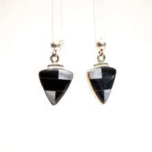 Black Onyx and Mother of Pearl Inlay Earrings
