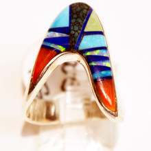 Multi Color Inlay Calvin Begay Ring
