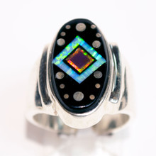 Black Onyx and Opal Inlay Ring 320