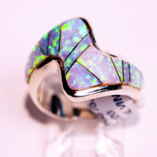 White Opal Inlay Calvin Begay Ring 220