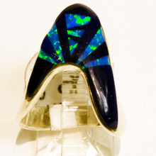 Lapis and Opal Inlay Calvin Begay Ring 200
