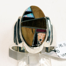Multi Color Oval Inlay CalvinBegay Ring 240