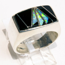 Black Onyx and White Opal Inlay Ring Sz 7