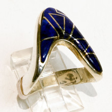 Lapis Inlay Calvin Begay Ring Sz 7 1/2