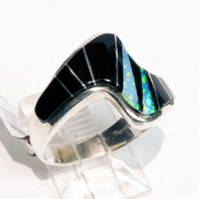 Black Onyx and White Opal Inlay CalvinBegay Ring Sz 7 3/4