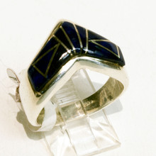 Lapis Inlay Calvin Begay Ring Sz 7 3/4