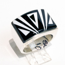 Black Onyx and Magnesite Inlay Ring Sz 10