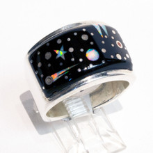 Black Onyx And Opal Inlay Calvin Begay Ring Sz 10
