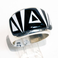 Black Onyx and Magnesite Inlay Calvin Begay Ring Sz 12 1/2