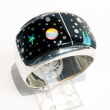 Black Onyx and Opal Inlay Calvin Begay Ring Sz 12