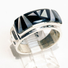 Black Onyx and Mother of Pearl Inlay Calvin Begay Ring Sz 6 3/4