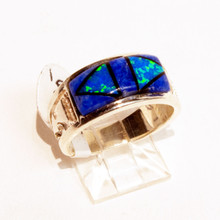 Lapis and Opal Inlay Calvin Begay Ring Sz 6 1/2