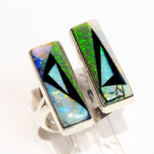 Black Onyx and Opal Inlay Calvin Begay Ring Sz 7