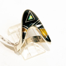 Multi  Color  Inlay Calvin Begay Ring Sz 6 1/2