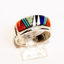 Multi  Color  Inlay Calvin Begay Ring Sz 7 1/2