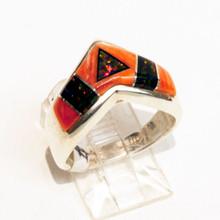 Spiny  Oyster Inlay Calvin Begay Ring Sz 7 1/2
