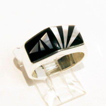 Black Onyx and Mother of Pearl Inlay Calvin Begay Ring Sz 7 1/2