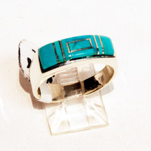 Turquoise Inlay Calvin Begay  Ring Sz  7 1/2