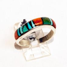 Multi  Color Inlay Calvin Begay Ring Sz  8