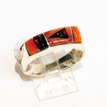 Spiny Oyster Inlay Calvin Begay Ring Sz  8