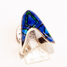 Lapis and Opal Inlay Calvin Begay Ring Sz 8