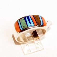 Multi  Color  Inlay Calvin   Begay Ring Sz 8 1/2