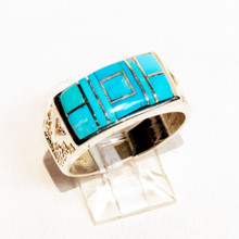 Turquoise Inlay Calvin Begay  Ring Sz 9