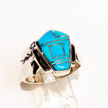 Turquoise Inlay Calvin Begay  Ring Sz 8 3/4