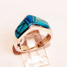 Turquoise Inlay Calvin  Begay  Ring Sz 8 3/4 SOLD