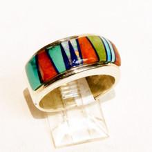 Multi  Color  Inlay Calvin Begay Ring Sz 8 3/4
