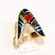 Multi  Color Inlay Calvin Begay Ring Sz 9 3/4