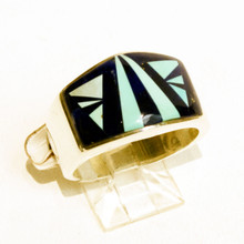 Lapis and Turquoise Inlay Calvin Begay RIng Sz 9 1/2