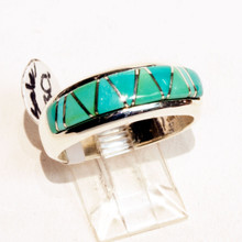 Turquoise Inlay Calvin Begay  Ring Sz 9 1/2