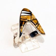Multi  Color  Inlay Calvin Begay Ring Sz 9 1/2