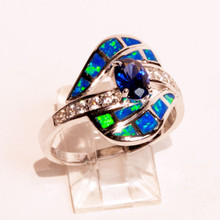 Opal and Sapphire Ring with CZ band