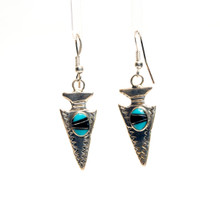 Turquoise and Black Onyx Inlay Arrowhead Earrings