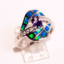 Opal and Amethyst Ring with CZ band