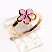 Pink Opal Flower Rose Gold Plated Ring